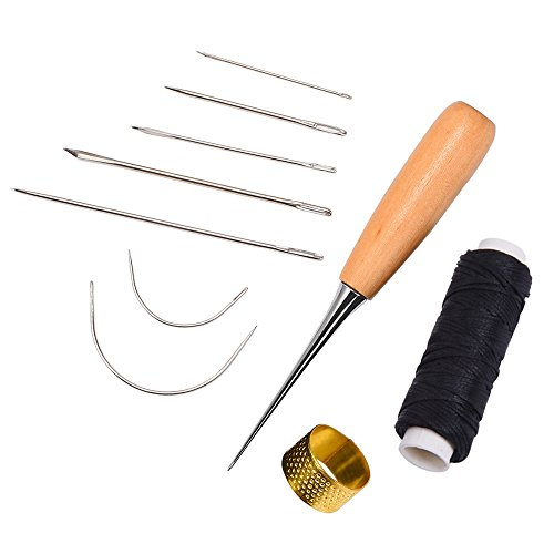 7 Pieces Sewing Needles with Leather Waxed Thread Cord Drilling Awl and Thimble for Leather Repair