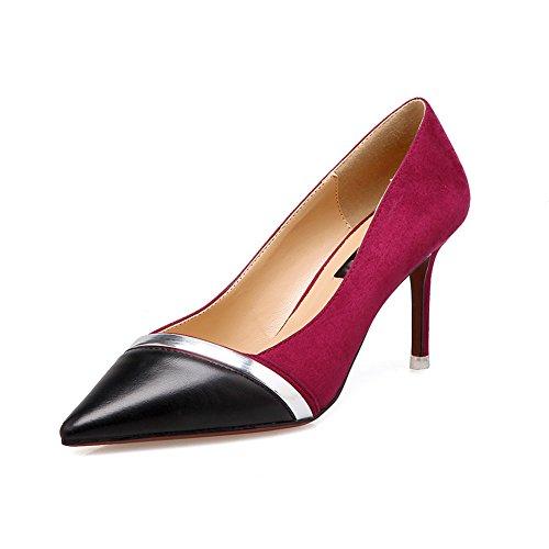 Donna Moda Sexy Camoscio Stiletto Tacchi Ufficio Classico Scarpe A Punta Per Abito Da Sposa Vino Rosso