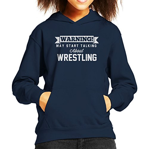 Warning May Start Talking About Wrestling Kid's Hooded Sweatshirt by Coto7