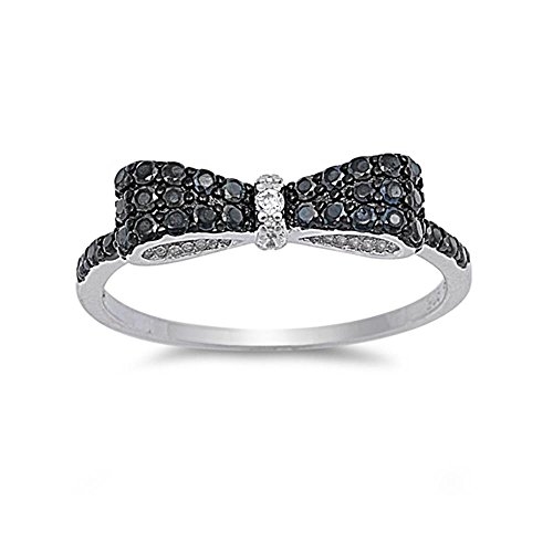 (Glitzs Jewels Sterling Silver Simulated Onyx and Cubic Zirconia Ribbon Ring, 5mm Choose Your Color)