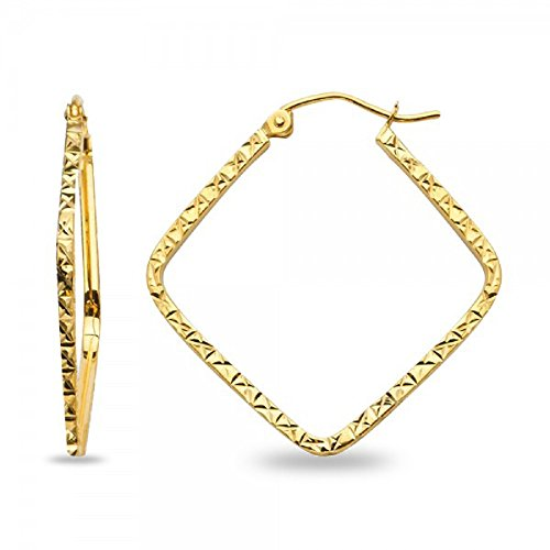 Square Hoop Earrings Solid 14k Yellow Gold Square Tube Diamond Cut Polished French Lock 25 x 1.5 mm ()