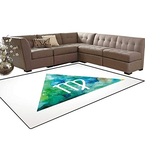 (Virgo Anti-Skid Area Rugs Virgo Watercolor Abstract Triangle Background Ancient Culture Inspiration Customize Door mats for Home Mat 6'x8' Sea Green Blue White )
