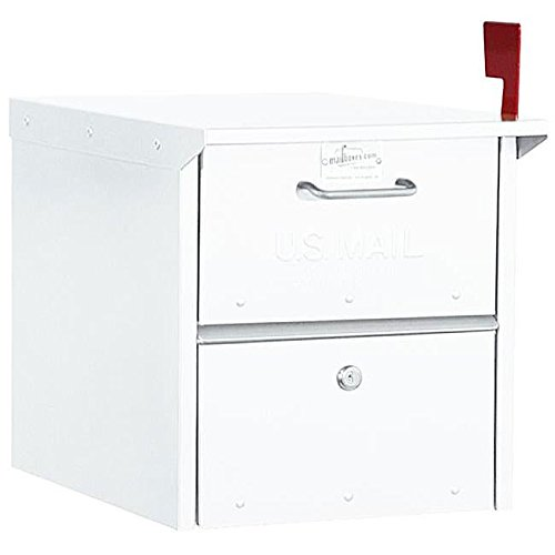 White Curbside Mailbox Lockable Roadside Mail Box Outgoing Tray Red Flag US Postbox Farmhouse Ranch Newspaper Farm Rural Country Home, Aluminum ()