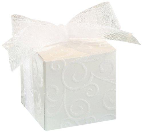 Darice David Tutera 25-Flocked Favor Boxes with White Swirl Pattern Ribbon