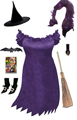 Cute Cavewoman Halloween Costumes (Sanctuarie Designs Womens Sexy Purple Witch /Deluxe/ Plus Size Supersize Halloween Kit/Deluxe/2xT/Purple/)