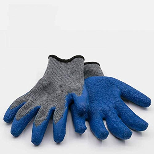 AMAZACER 女性と男性のために手袋ガーデングローブ - (パッケージごとに10ペア) - ガーデニング用の特殊保護コーティングに対するカット付 - 釣り - 自動車と作業活動(色:ブルー)