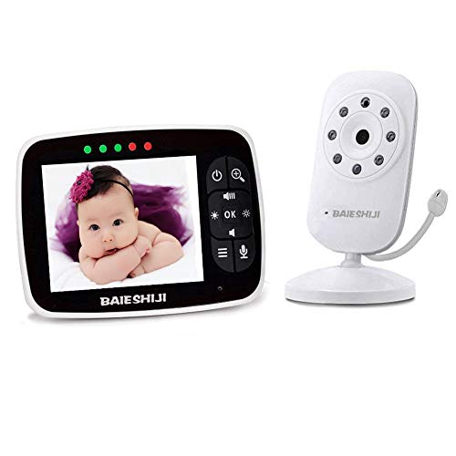 Video Baby Monitor, Baby Monitor Digital Camera with 3.5 inch Large Screen, Infrared Night Vision, Two-Way Talk Back,Temperature Detection, Lullabies, 960ft Transmission Range, High Capacity Battery