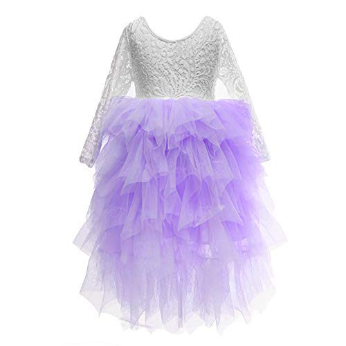Flower Girls Tutu Lace Cake Dress Skirts Princess Birthday Party Dresses (Lavender, 10T) ()