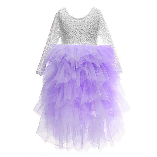 Flower Girls Tutu Lace Cake Dress Skirts Princess Birthday Party Dresses (Lavender, 10T)