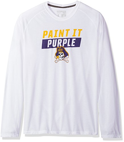adidas NCAA East Carolina Pirates Mens Block Statement Ultimate L/S Teeblock Statement Ultimate L/S Tee, White, Large (Adidas Block Tshirt)