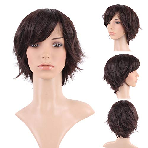 Dark Brown Pixie Wigs with Side Bangs for Women Short Layered Hair with Fringe Fluffy Hair Tail Synthetic Wig 5inch ()