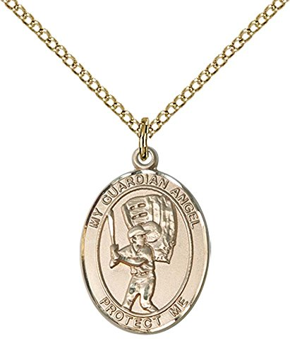 14kt Gold Filled Guardian Angel / Baseball Pendant with 18