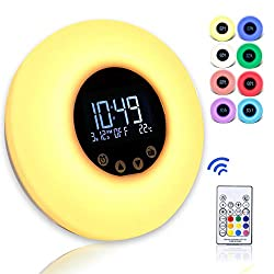 Wake up Light with Alarm Clock, Remote Control Sunrise Simulation, Dimmable Fading and 9 Color LED Lighting