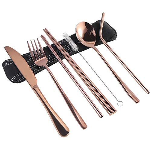 7 Pieces Portable Flatware Set, Healthy Stainless Steel Cutlery Set Silverware Set Travel Utensils Set with Fork Spoon Chopsticks Straws for Travel Camping Office School - Dishwasher - Utensil Set Portable