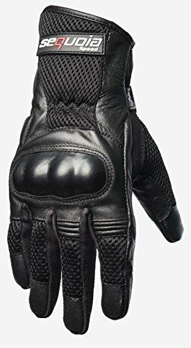 Sequoia Speed BOULEVARD Men's Motorcycle Protective Gloves Bike Racing Full Finger Wiper Riding Black New Outdoor Leather Motorbike Mesh Motocross - XLARGE - 3 Months Warranty