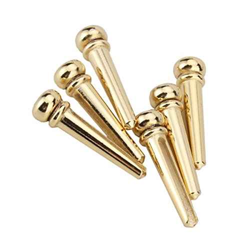 5 opinioni per WINOMO 6pcs oro bella ottone Guitar Bridge Pins fine Pin Set
