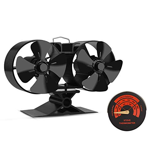 Mini Size 8 Blade Stove Fan -Silent, Heat Powered Wood/Log Burner Fan for Ultra Small Space- 30% Larger Than 4 Blades (8Blade) ()