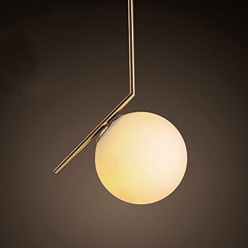 Nordic Modern Luxury Gold Metallic Polyline Suspension White Spherical Glass Pendant Lamp Ceiling Light Bedroom Bedside Living/Dining Room Clothing Store E27 Pendant Light