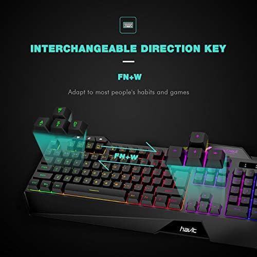 Havit Keyboard Rainbow Backlit Wired Gaming Keyboard Mouse Combo, LED 104 Keys USB Ergonomic Wrist Rest Keyboard, 4800 Dots Per Inch 6 Button RGB Mouse for Windows Gamer Desktop, Computer (Black) 41gyNSGk9JL