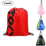 Drawstring Beach Bag Waterproof(4 pack)-Sports Swimming Backpack For Men Women Kids Youth Cinch Nap Sack Tote Bags for Picnic Gym Beach Travel Childrens' Gift Review