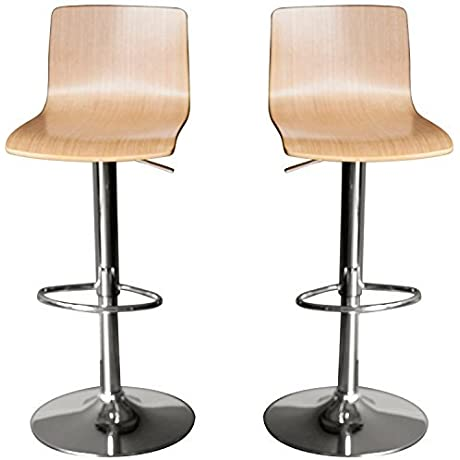 2 X Maple Wood Hydraulic Lift Adjustable Counter Bar Stool Dining Chair Pack Of 2 5011