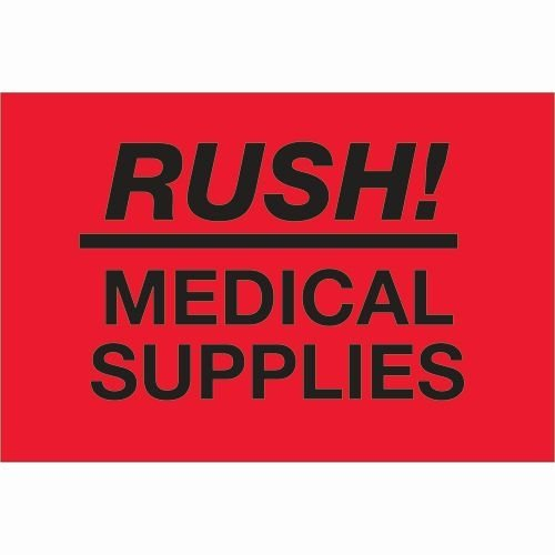 Tape Logic DL1335 Labels,Rush - Medical Supplies, Red/Black, 500 Per Roll by Tape Logic