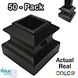 Shoe for Iron Balusters (50-Pack) Stair Parts Flat Shoes with Set Screw for use with 1/2' Square Scroll Basket Twist Knuckle Iron Balusters (Satin Black)