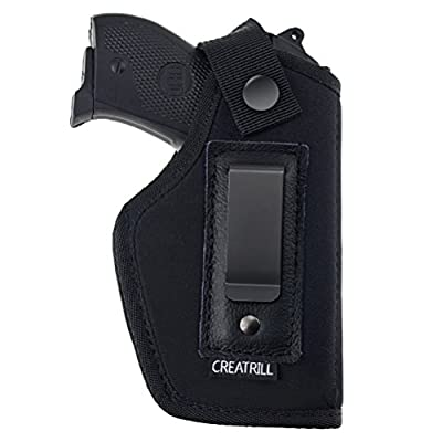 Creatrill Inside The Waistband Holster | Fits M&P Shield 9mm, .40, .45 Auto / GLOCK 26 27 29 30 33 42 43 / Ruger LC9, LC380 / Springfield XD & Similar Pistols | Gun Concealed Carry IWB Holster