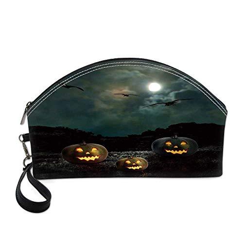 Halloween Beautiful Women's semi circular cosmetic bag,Yard of an Old House at Night Majestic Moon Sky Creepy Dark Evil Face Pumpkins Decorative For -