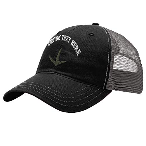 Custom Turkey Track Unisex Adult Snaps Cotton Richardson Unstructured Front and Mesh Back Cap Adjustable Hat - Black/Charcoal