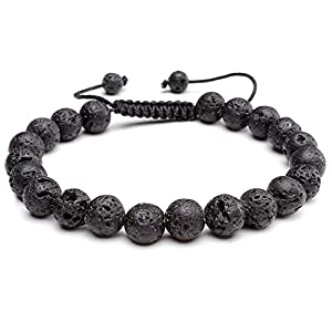 8mm Natural Gemstones Beads Engergy Bracelet Macrame Adjustable Size with Free Gift Red String Bracelet