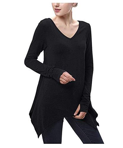 Noir Zhrui moyenne shirt irrégulier femme col taille Gris à T ourlet Couleur Manches foncé pour manche avec longue en V à longues rArqf1