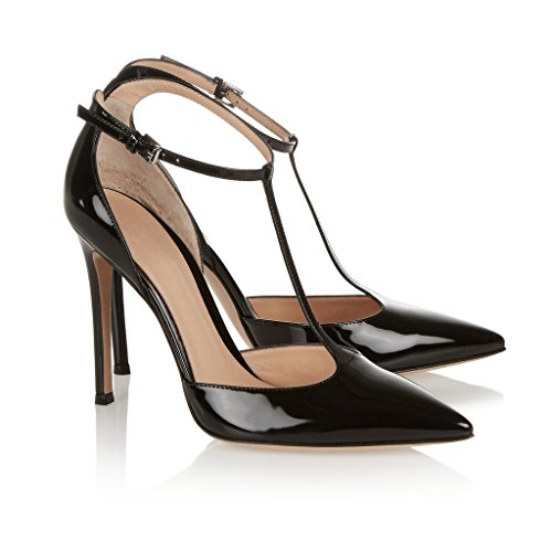 EDEFS Damen T-Spangen Pumps Stiletto Heel Mary Jane Knöchelriemchen Schuhe mit Schnalle Schwarz
