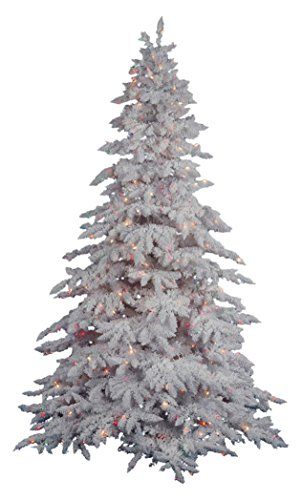 Vickerman Pre-lit Flocked White Artificial Tree with 250 Multicolored LED Lights, 4.5 (Lit White Spruce Christmas Tree)