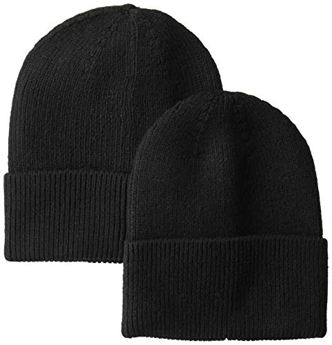 (Amazon Essentials Men's  2-Pack Knit Beanie Hat Black, One Size )