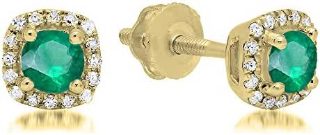 10K Yellow Gold Ladies Halo Style Stud Earrings