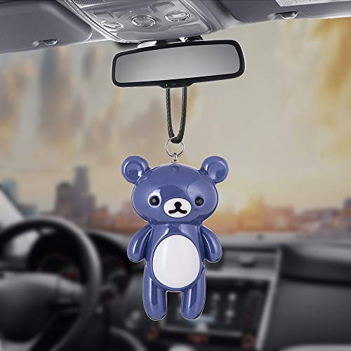 Libloop Car Pendant Car Rear View Mirror Charms Accessories Decorations Hanging Ornaments Bear Cute Decoration of Brooches Key Chains (Blue)