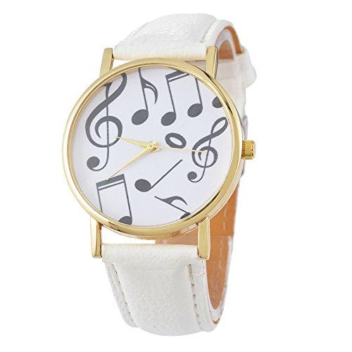 Mujer Blanco Piano Ordenador Reloj de pulsera Quartz Reloj analógico reloj maduro pulsera