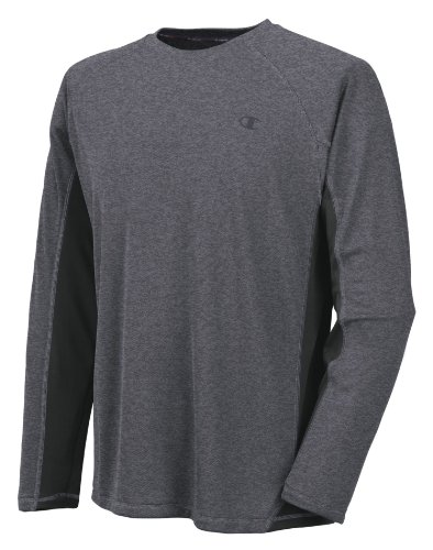 Champion Men's Powertrain Long Sleeve T-Shirt, Granite Heather/Black, Medium