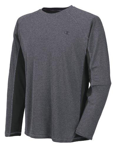 Champion Men's Powertrain Long Sleeve T-Shirt, Granite Heather/Black, Small
