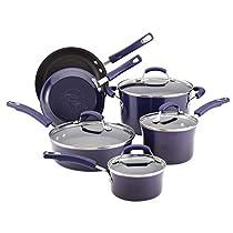 Premium Cookware Set Nonstick Porcelain Enamel 10 Piece,Purple, Scratch-Resistant PTFE PFOA and Cadmium Free, Glass Lid