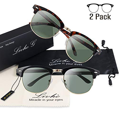 Rimless Fashion Sunglasses - Livhò 2 Pack of Polarized Sunglasses Women Men Semi Rimless Frame Retro Sunglasses (Leoaprd Green + Black Green)