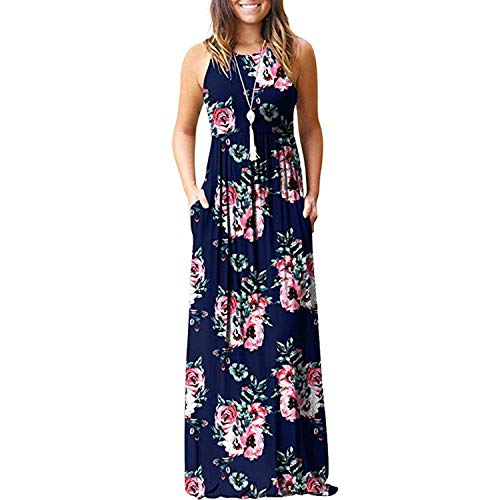 Maxi Dresses for Womens Sleeveless Casual Summer Floral Maxi Dress with Pockets