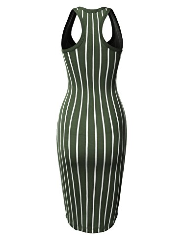 V Pinstripe Women's Olive by Sleeveless Con Emma Neck Fewdrv0020 Midi Solid Open Made Body Dress ABwZqF