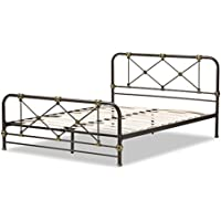 Baxton Studio Benezet Stippled Metal Platform Bed, Queen, Black/Brass