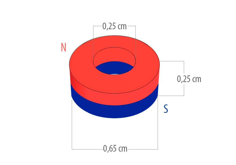 fuerza de atracci/ón de 0,6 Kg 6,5 mm de di/ámetro X 2,5 mm di/ámetro interno X 2,5 mm de grosor Aiman GZ 1722 gauss 50 Imanes de neodimio aro
