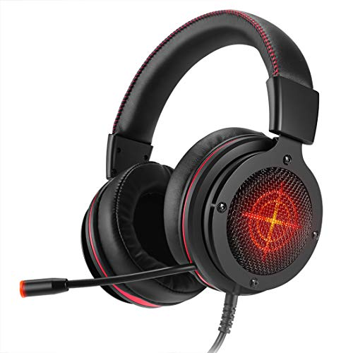 (Stereo Gaming Headset, Lightweight, deep Bass, Noise canceling Headphones with Mic 3.5mm Jack, for PS4, PC,Mac, Xbox One, Cell phon Red)