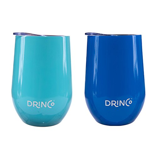 Drinco Wine Tumbler Insulated Stemless Wine Glass Tumbler Cup Mug with Press in lid, Triple Insulated, Stainless Steel, Double Wall, Shatterproof, Wine Tumbler, 12oz, 2 Pack (Aqua/Blue) by Drinco
