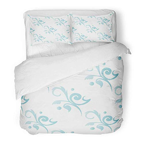 - 3 Piece Duvet Cover Set Brushed Microfiber Fabric Breathable Navy Antique Toile Floral Ice Blue Med Baby Chic Curls Feminine Flowers French Bedding Set with 2 Pillow Covers King Size