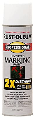 Rust-Oleum 266593 Professional 2X White Marking Spray Paint, 15-Ounce